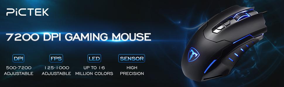 PICTEK Gaming Mouse Wired [7200 DPI] [Programmable] [Breathing Light]  Ergonomic Game USB Computer Mice RGB Gamer Desktop Laptop PC Gaming Mouse,  7