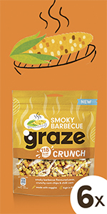 graze smokey barbecue crunch peulvruchten & groenten snack | 6 x 104 gram