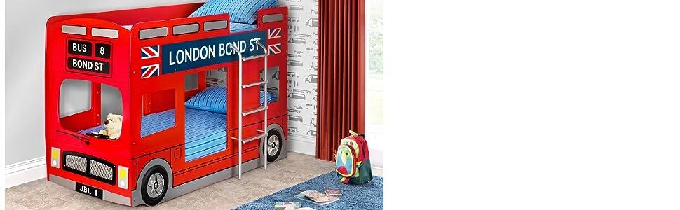 Julian Bowen London Bus Bunk Bed Uk Single Red