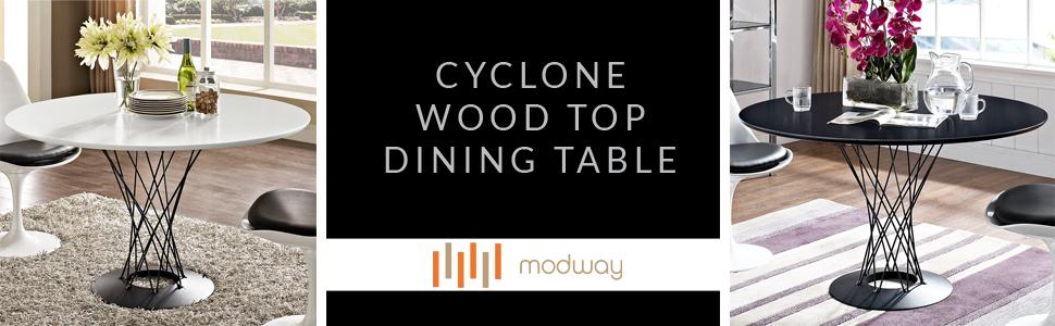 Amazon Com Modway Cyclone Wood Top Dining Table In Black Tables