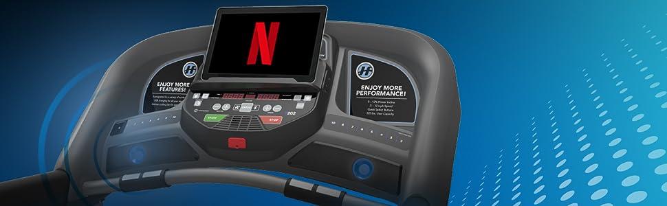 Horizon T202 Treadmill | Stream Media with Bluetooth Speakers on Smart Treadmill