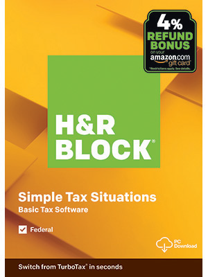H&R Block Basic Tax Software, Simple Tax Situations, Front Image, Yellow Box