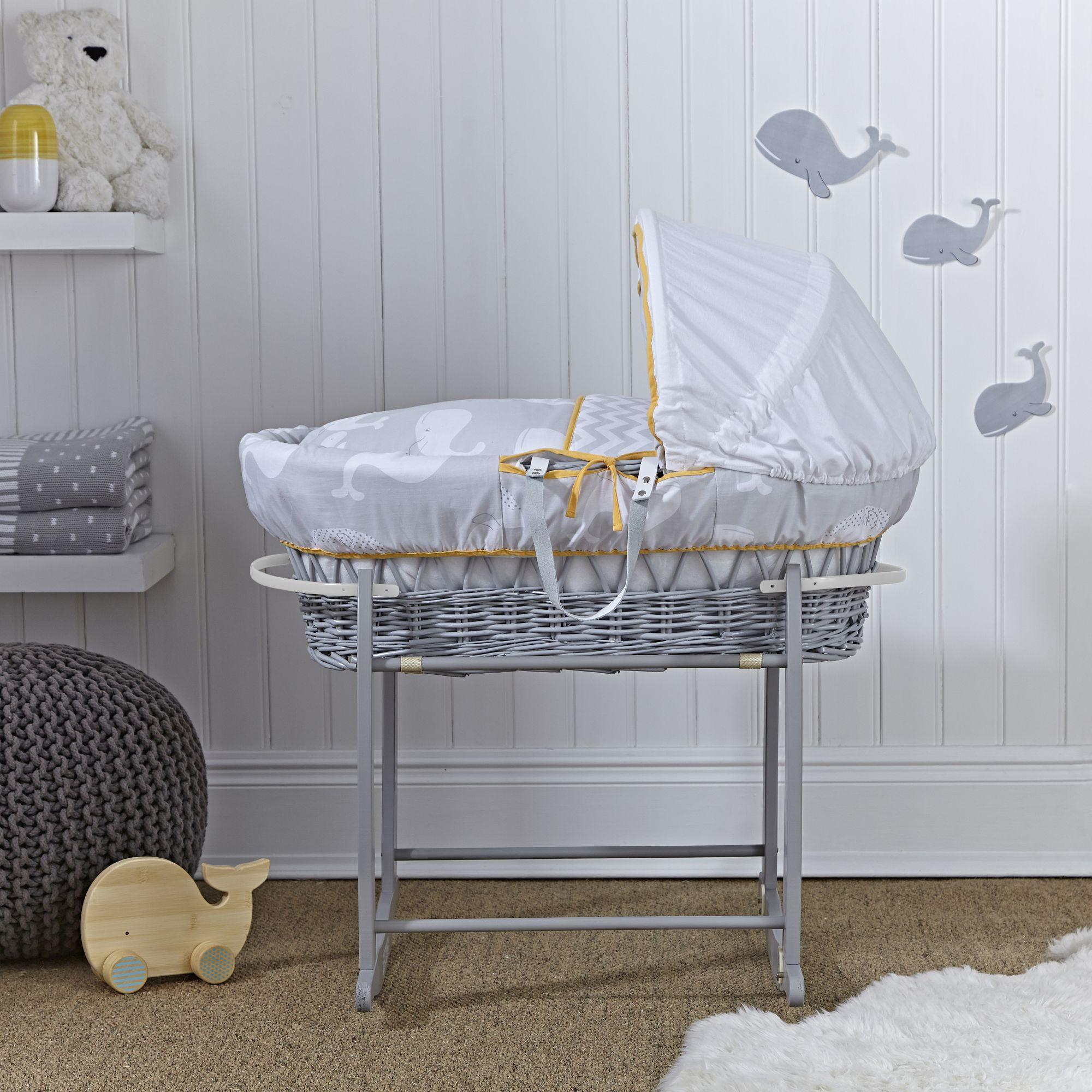 Brand new Clair de Lune Whales Grey Wicker Moses Basket inc. bedding  FO51