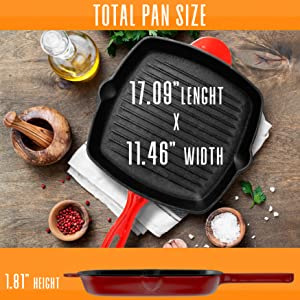 Nonstick Cast Iron Grill Pan;11-Inch KitchenSquare Cast Iron;Skillet GrillingPan;Enameled Cast Iron;
