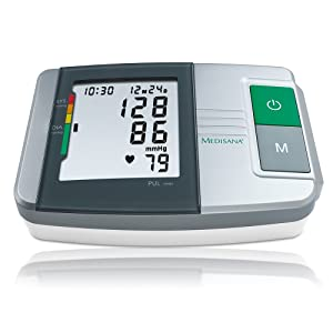 Medisana MTS Tensiómetro para el brazo, pantalla de arritmia, escala de colores de los semáforos de la OMS, para una medición precisa de la tensión arterial y del pulso con función de