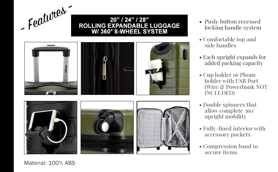 wrangler, travel, 3piece set, USB port, cup holder, phone holder, lightweight, expandable, spinners