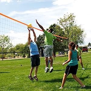 blue net, volleyball net, orange, aluminum, poles, court, boundary, official