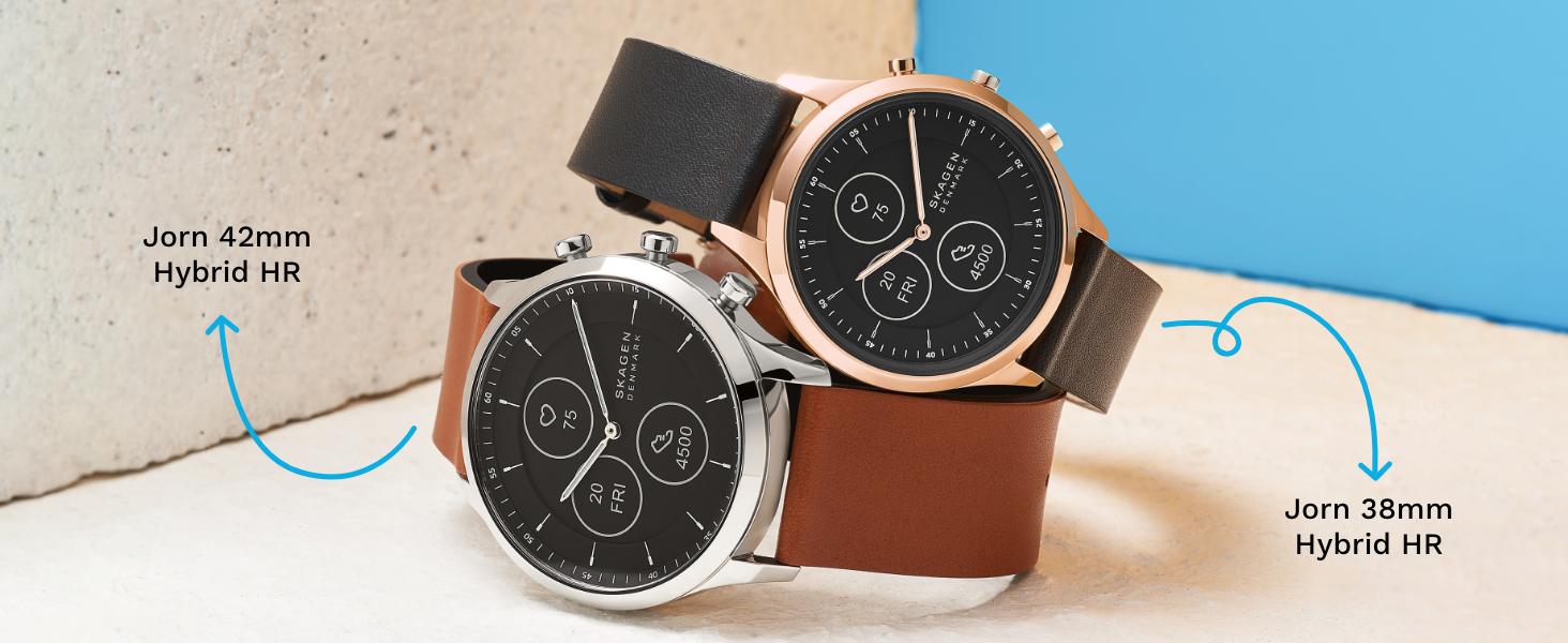 Skagen Jorn Hybrid HR Brown Leather Black Leather Smartwatch 38mm 42mm