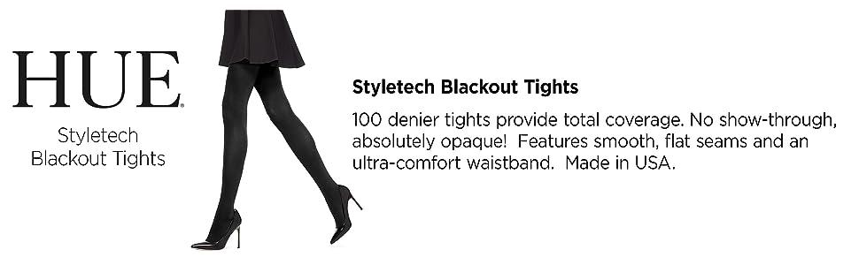 hue tights, blackout tights, opaque tights, shaping, comfort, black tights