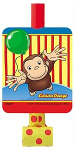 14 Honeycomb Curious George Centerpiece Decoration Party Blowers 8ct Confetti 4ft Birthday Banner