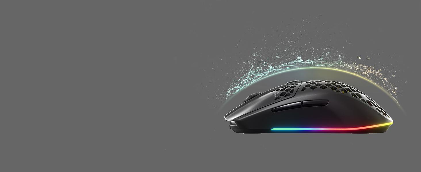 SteelSeries Aerox 3 Wireless, Ratón de gaming ultraligero, Sensor óptico, 18.000 CPI, Batería