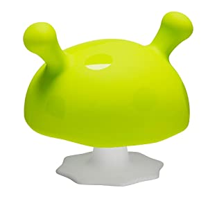 mushroom silicone teether green yellow orange bpa free safe texture