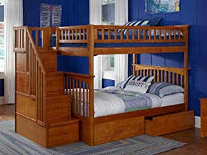 Amazon Columbia Staircase Bunk Bed Full Over Full White