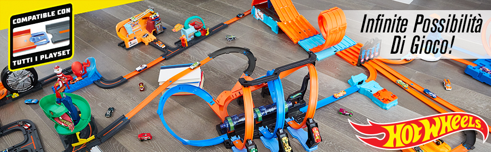 Hot Wheels Set Multi Loop-Track Builder-con Piste Macchinina e Mattoncini