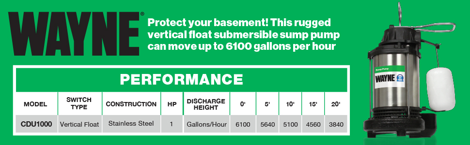 WAYNE CDU1000 1 HP Submersible Cast Iron and Stainless Steel Sump Pump with  Integrated Vertical Float Switch - 58321-WYN2