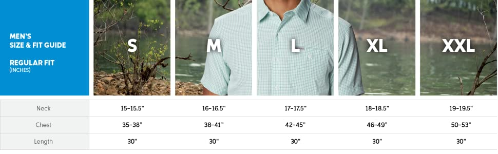 Men's Shirt Regular cut size and fit guide