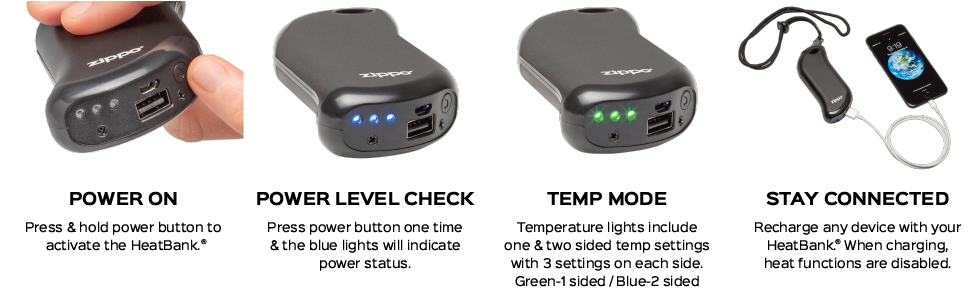 Zippo heatbank 9s plus features - power level check, temperature mode and USB charging
