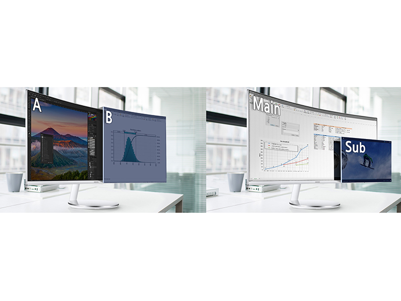 Samsung CJ79 Monitor displaying two source with Picture-by-Picture onscreen multi-tasking