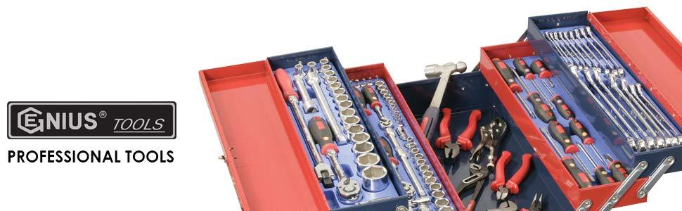 22-Piece Genius Tools DI-422S 1//2 Drive SAE Deep Impact Socket Set
