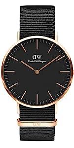 dw, daniel wellington, classic cornwall, rose gold nato, black nato watch
