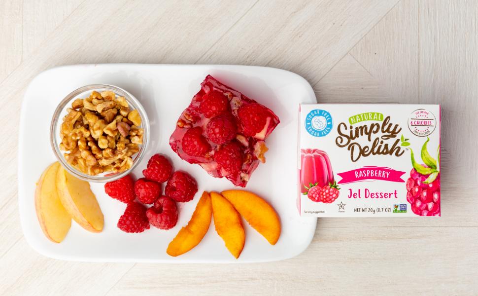 Simply Delish Raspberry Jel fruit and nut jel cake dessert keto friendly peach apple walnut
