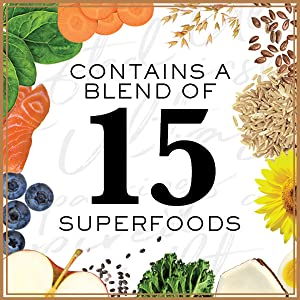 Contains a Blend of 15 Superfoods, Vegetables, carrots, blueberry, healthy, dry dog food, dog kibble