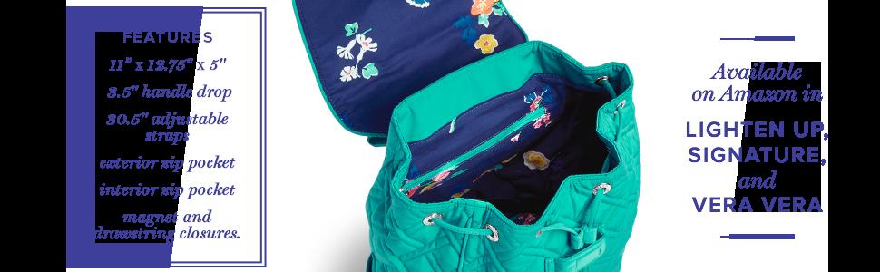 e77cb4870f Amazon.com  Vera Bradley Women s Drawstring Backpack