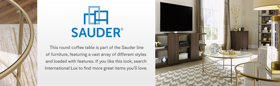 Sauder International Lux Coffee Table in a Satin Gold finish