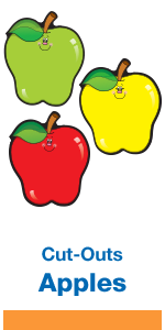 Colorful apple cut-outs for classroom bulletin board