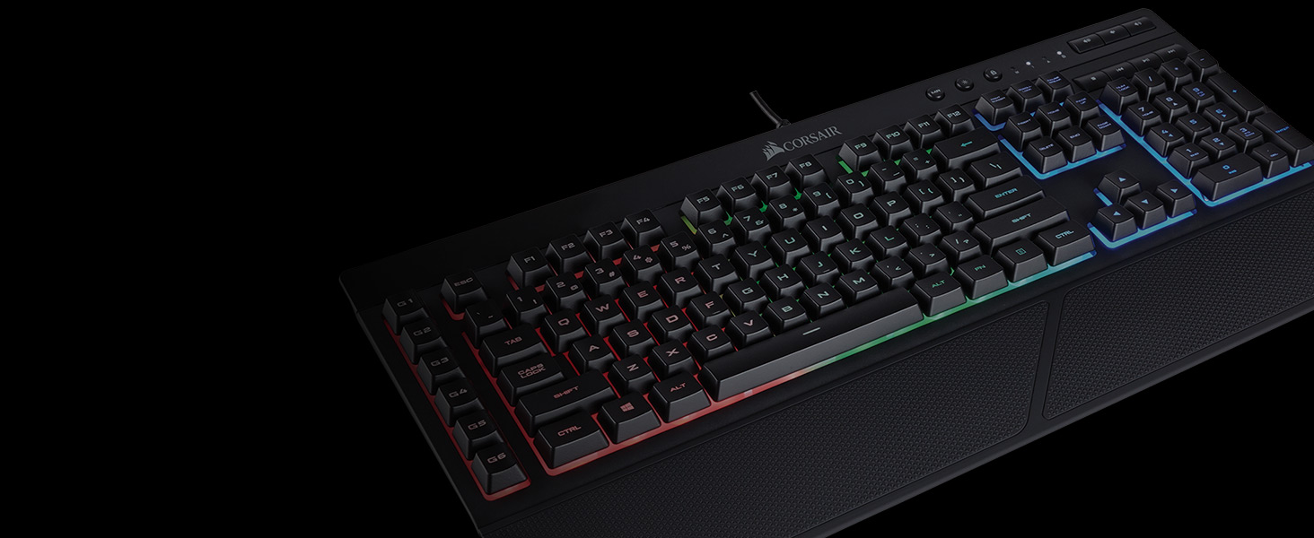 Corsair K55 RGB Gaming Keyboard - Quiet & Satisfying LED Backlit Keys -  Media Controls - Wrist Rest Included – Onboard Macro Recording