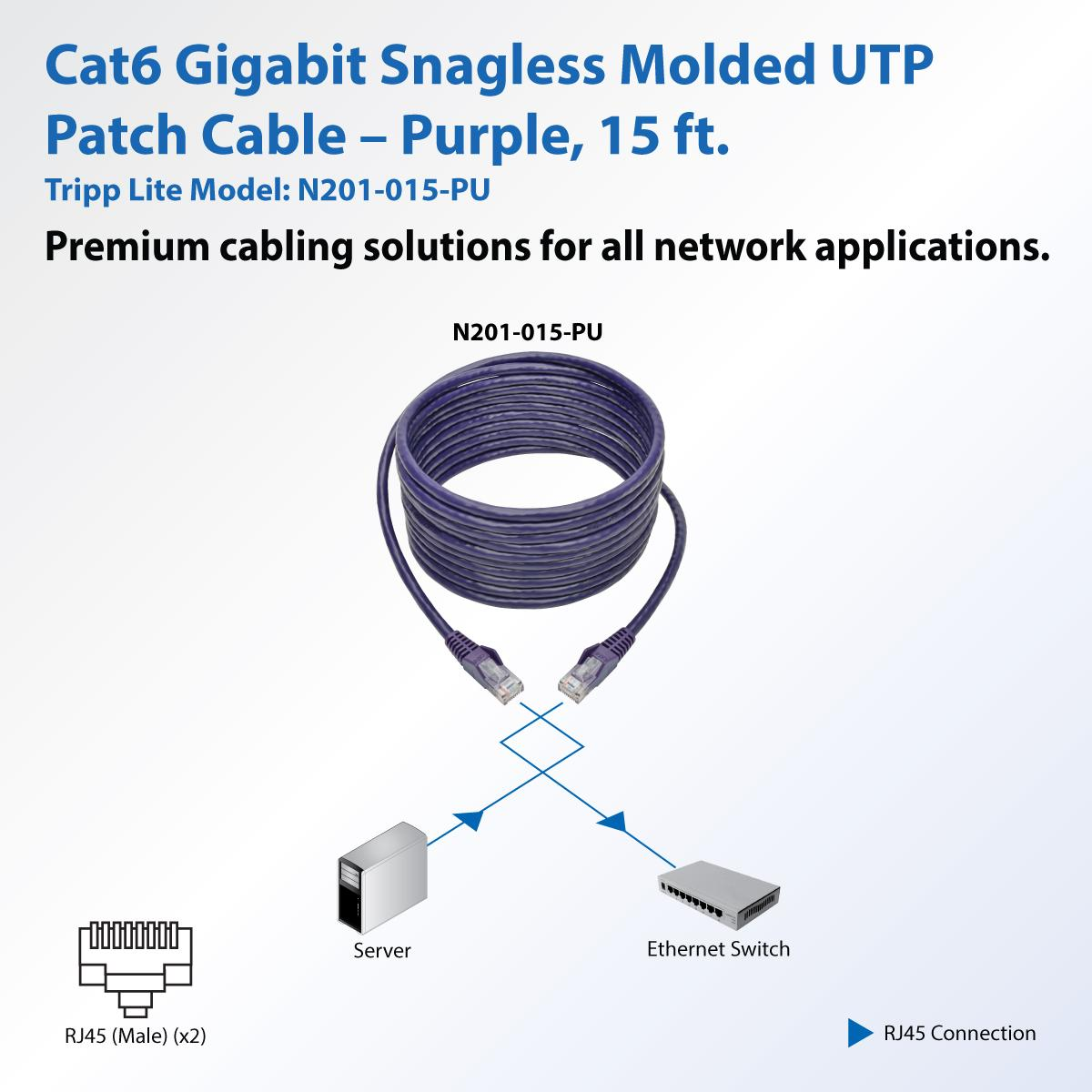 Tripp Lite 15ft Cat6 Gigabit Ethernet Snagless Molded Images Of Ether Wiring Diagram Wire View Larger