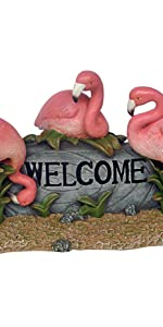flamingo welcome sign, welcome sign, pink flamingo statue