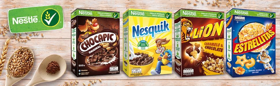 cereales desayuno, cereales niños, nesquik, lion. estrellitas, chocapic, cereales nestle