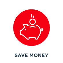 White outline of piggy bank on a red background.