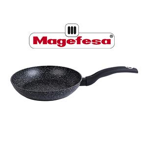 Magefesa Roka Sartén 24 cm de aluminio forjado antiadhente bicapa efecto piedra, color exterior efecto piedra. Full induction. Mango soft touch ...