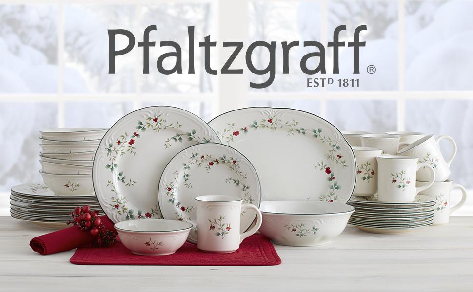 pfaltzgraff dinnerware plate setting mug cup plate dinner brunch place setting winterberry christmas