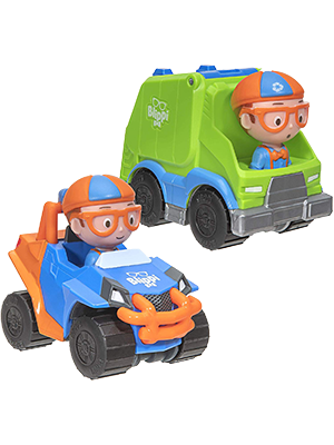 Amazon Com Blippi Mini Vehicles 2 Pack Blippi Mobile And Garbage Truck Toys Games