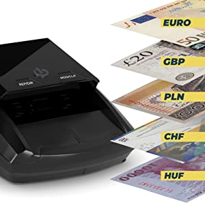 Detectalia D7 - Detector de billetes falsos, batería de litio recargable y cable de actualización