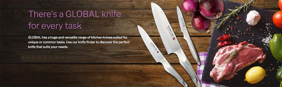 Global G2338 G-2338-3 Piece Starter Set with Chefs, Utility and Paring Knife, 3, Silver