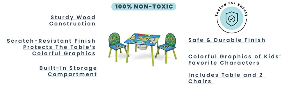 Amazon Com Delta Children Kids Table And Chair Set With Storage 2 Chairs Included Ideal For Arts Crafts Snack Time Homeschooling Homework More Ninja Turtles Baby