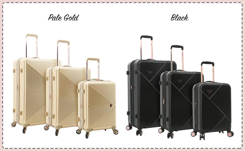 dawn collection, 3 piece set, black, gold, rose gold, kensie, 28 inch, 24 inch, 20 inch, travel, fun
