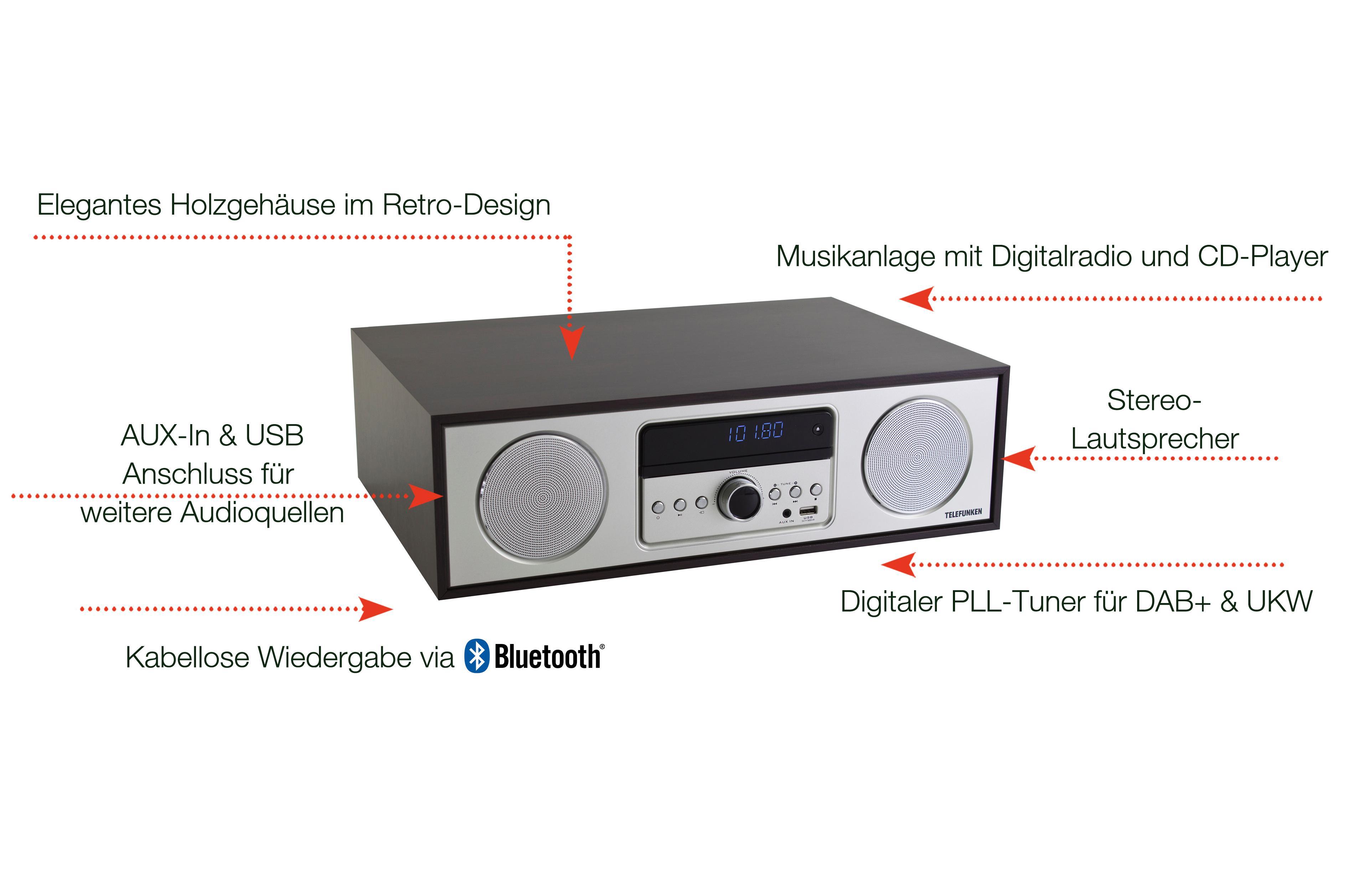 Telefunken MC2000D Musikanlage mit CD-Player, Digitalradio
