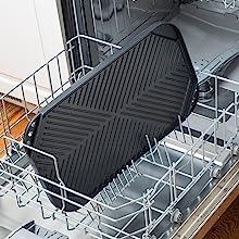Dishwasher safe double burner grill griddle pan