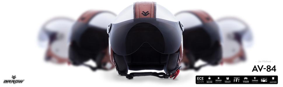 "Armor · AV-84 ""Vintage Deluxe White"" (white) · Casco moto Demi Jet · Scooter Retro Urbano Helmet Urban motocicleta · ECE certificado · Visor · ..."