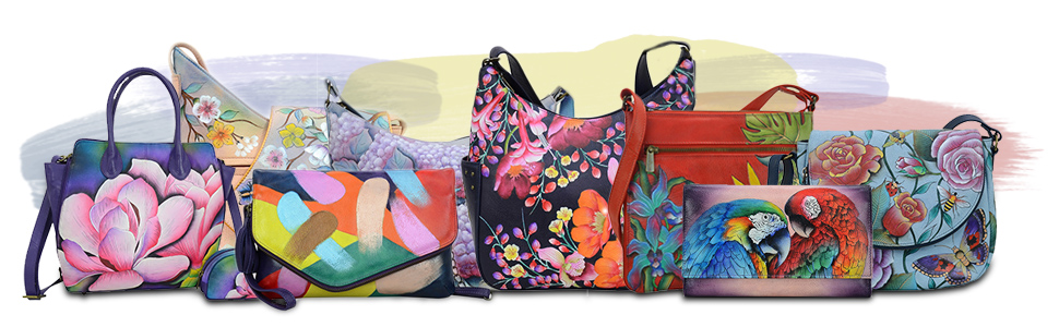 Anuschka leather womens shoulder and hand bags. Genuine leather totes, clutches, backpacks