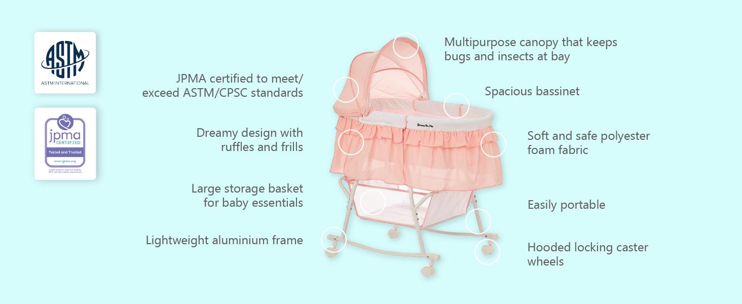skylar bassinet, sleeper, Portable bassinet,breathable bassinet,bassinet with mesh, light bassinet