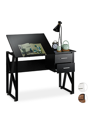 Relaxdays reclinable, Mesa Ajustable, Escritorio de Dibujo ...