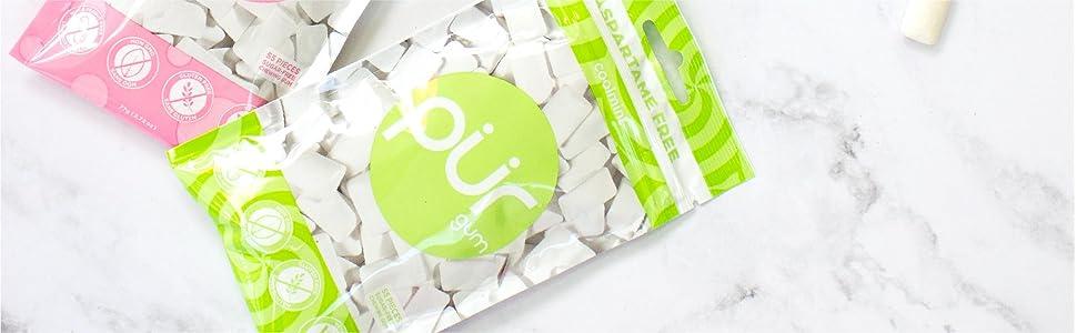 aspartame free gum, aspartame free chewing gum, pur gum