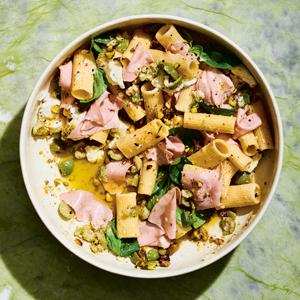 Pasta Salad with Morty-d, Mozz & Pistachios