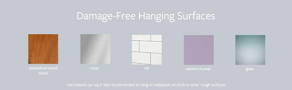 Damage free hanging surfaces